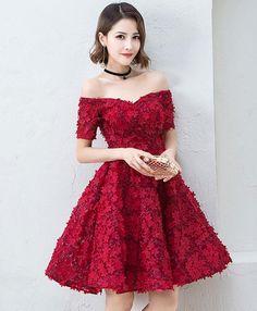 Cute burgundy short prom dress, evening dress for teens #prom #dress #promdress #promdresses