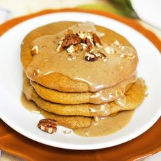 Paleo Pumpkin Pancakes. Baked instead of pan-fried, these require no cooking oil and are ready all at the same time!