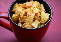 Healthy fruit desserts in a mug! Easy, low calorie options you can make in your microwave in seconds! Apple pear cherry!