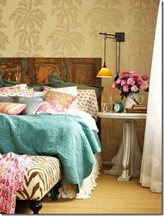 Reclaimed wood Rustic Bedroom, love the patterns & textures!