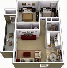 Departamentos Pequeños, Planos Y Diseño En 3D. House Plans Design ...
