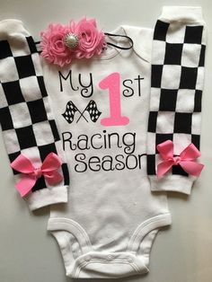 Baby Girl Race Day Outfit - My 1st Racing Season outfit- checkered outfit - personalized baby outfit - baby girl photo prop