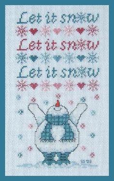 Let It Snow Snowman cross stitch