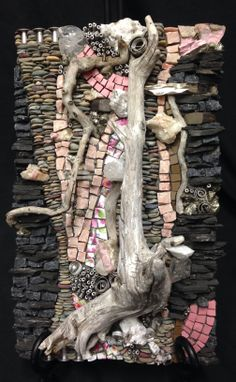 """Pocket art pink"" driftwood, tile, pebbles, metal, pyrite, rock, quartz, china by Karen Klassen"