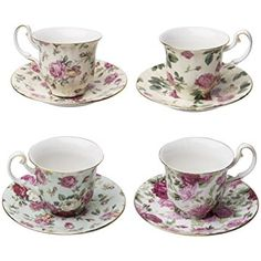 Gracie China Rose Chintz 3-Ounce Porcelain Espresso Cup and Saucer with Gold Trim, Set of 4