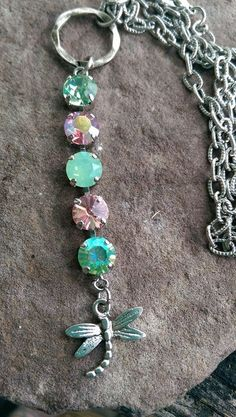 Dragon fly and crystal necklace made by High Voltage a Jewelry