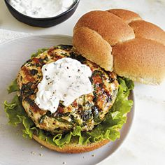 Grilled Turkey Burgers with Goat Cheese Spread | MyRecipes.com