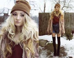loose burgundy sweater top, high waisted shorts, black over the knee socks, black boots, big loose sweatshirt & beanie