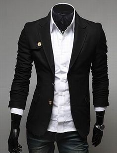 Basic Black Blazer for Men Fashion