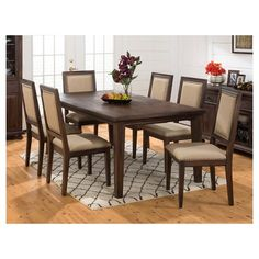 Jofran Geneva Hills 5 Piece Rectangle Dining Set with Upholstered Side Chairs - Rustic Brown