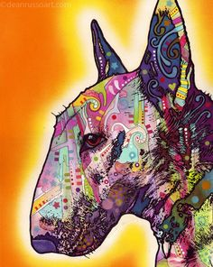 BULL TERRIER Print on Paper-Dean Russo Art