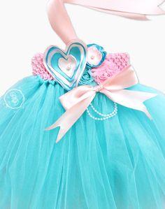 Aqua Pink Tutu Dress-Tiffany & Co. Inspired by DBellaDesignsKids