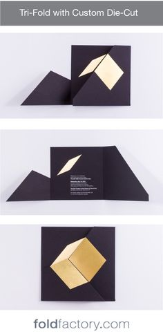 Simple Tri-fold with die-cut panels that combine to make a 3D cube illusion. Designed by Publicis New York and Philip Arias for Art Directors Club. Gorgeous black uncoated paper with flat gold foil stamp and flat white foil stamp. Sample courtesy of the Foldfactory Collection. #foldtastic #events #wedding #marketing #directmail #folding #specialevents #cardmaking #diecut #foil #print Photography by Chris Paulis.