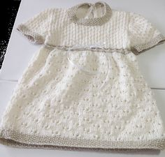 Hand Knitted Cotton Baby Girl Dress, Quality tiny intricate stitches, Beautiful…