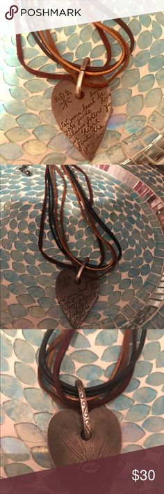 """🎉Spring Sale! Chico's Boho Chic Inspiration 💝 Very special and unique Chico's Heart Necklace. Quote reads """"Let your heart be your guide. Always follow your heart. Find the joy in you."""" Hammered antique silver tone. Straps are made up of 5 strands, varying textures, faux leather, etc. with colors of black, burgundy, brown, rust. Total length is 9"""" long from clasp to longest point, 4"""" adjustable lobster claw clasp. The heart sits perfectly on collar bone/a little lower. Purchased at Chico's…"""