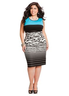 cc266f156d7 Plus Size Striped Dress Ashley Stewart Colorblock Print Scuba Sheath