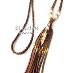 Gypsy Feather Necklace Boho Jewelry Deerskin Leather Tassel by xxxAZUxxx | Etsy