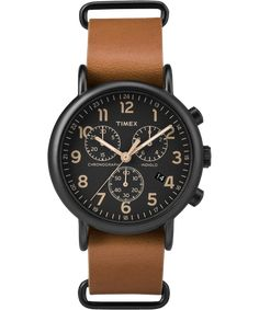 cbd90f5da416 Timex Weekender Chrono Oversized Watch - Black Dial Brown Strap   Check  this awesome product by going to the link at the image.