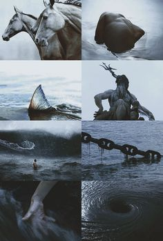 "Poseidon ""I am nothing definitive a collection of half-strung truths and swallowed lies I am in between "" Witch Aesthetic, Aesthetic Collage, Book Aesthetic, Roman Mythology, Greek Mythology, Greek Gods And Goddesses, Sea Witch, Jolie Photo, Deities"