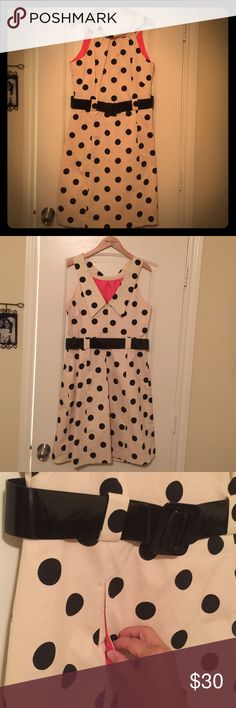 Eliza J classy polka dot dress NEW!! Eliza J classy polka dot dress with wide black belt, back zipper, and front pockets. Two small spots on the front as shown in the fourth picture. Eliza J Dresses