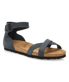 Love this Navy Milano Leather Sandal - Women on #zulily! #zulilyfinds