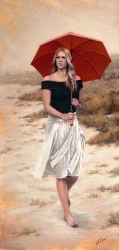 "Daniel Del Orfano, She Walks in Beauty,   Embellished giclee on Canvas  48""h x 23""w  30""h x 15""w"
