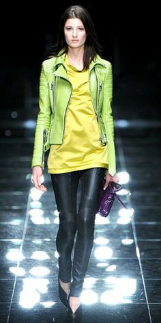 Lime green Leather Jacket. Freaking out because I have that jacket...