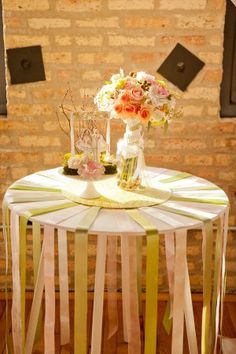 Ribbon-Table-Decor- cute for the cocktail tables!!