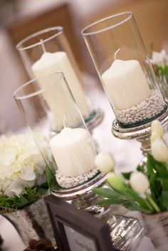 candle centerpieces, pearls instead of beans....or whatever those are.