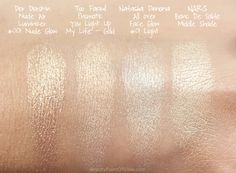 Comparison of highlighters 2017 releases including NARS Banc De Sable Highlighter Palette #NARS #makeup #beauty #highlighter #Dior #tooFaced #natashadenona