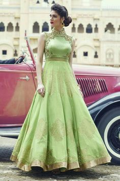 Buy Light Green Raw Silk Embroidered Party Wear Gown online in India at best price. eight 2 Kg Dispatch Date Feb, 2017 Occasion Partywear Work Zardosi, Zari Style Anarkali Neck Ch Indian Gowns, Indian Attire, Indian Wear, Indian Outfits, Party Wear Indian Dresses, Wedding Dresses, Lehenga Gown, Anarkali Dress, Anarkali Suits