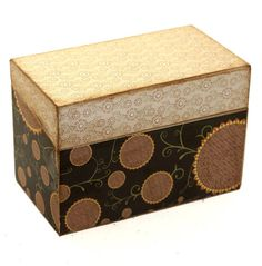 Recipe Box Wood Brown Sunflowers Fits 4x6 Recipe Cards