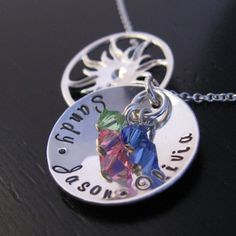 ROSA mother domed necklace with sterling sun charm