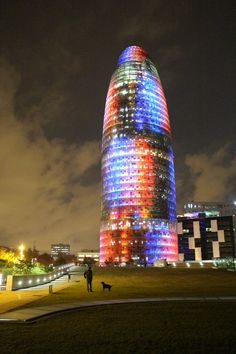 Torre Agbar could light up your nights as well! offers lots of things to… Burj Khalifa, Light Up, Spain, Clouds, Night, Building, Travel, Viajes, Sevilla Spain