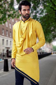 yellow kurta - indo western for men #IndianFashion