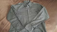 Men's Irreverent Button-down shirt, size S #Irreverent #ButtonFront L And Light, Light Blue, Military Jacket, Long Sleeve Shirts, Button Down Shirt, Handsome, Blue And White, Closet, Jackets