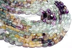 Multi Fluorite Smooth Twisted Brick (Quality B) (Pack of 6 Strands) / 4.5x9 to 6x11.5 mm / 20 to 22 Grms / 36 cm / FL-015 by GemstoneWholesaler on Etsy