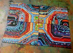 """JOSE Juarez ORIGINAL  PAINTING ACEO """"A RUBIX CUBE""""  OOAK ART NEW AMAZING ART #OutsiderArt"""