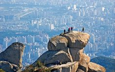 Overlooking Seoul from Bukhan Mountain