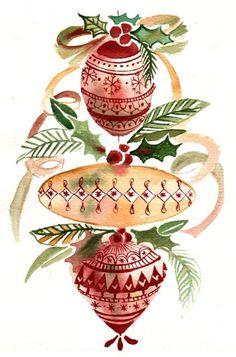 Original Watercolor Painting Christmas by SimplyArtByKristin