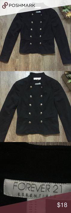 Forever 21 Essentials Black Button Jacket Size S Super cute black button jacket from Forever 21 Essentials Collection 😍 Size Small. I also this same Jacket for sale in a pretty yellow color. Forever 21 Jackets & Coats