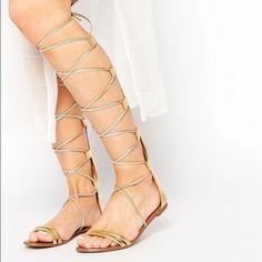 9827b4ce70f ALDO Gold Gladiators NEVER WORN ALDO  Umarelle  Gold lace up knee high  gladiators.