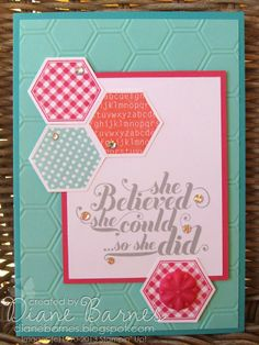 Stampin Up Six Sided Sampler hexagon & Feelgoods card by Di Barnes #stampinup #colourmehappy