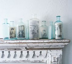 Apothecary jars are my favorite, these vintage photos are an awesome way to showcase them.