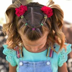 Easy Toddler Hairstyles, Easy Little Girl Hairstyles, Girls Hairdos, Kids Curly Hairstyles, Baby Girl Hairstyles, Back To School Hairstyles, Toddler Hair Dos, Wedding Hairstyles, Braided Hairstyles