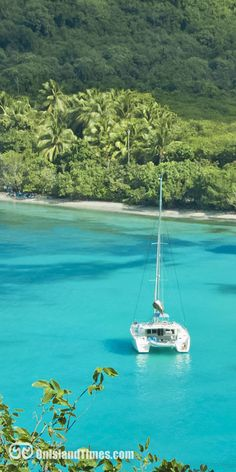 Explore the Virgin Islands aboard a sail boat. This big cat' is moored up in Maho Bay, St John, USVI.