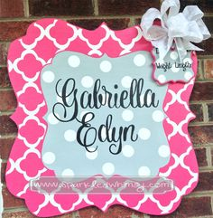 Personalized Quatrefoil Baby Sign For Hospital Door (Hot Pink/Gray) Children  Housewares  Room Decor  Baby  personalize  door decoration  hospital  baby shower  TeamEtsyBABY nursery decoration  monogram  shower decoration  children wall art  Sparkled Whimsy  pink and gray  nursery