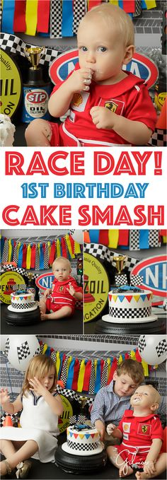 Newport Beach Race car birthday cake smash theme, blonde, race suit, red, racing, racer, nascar, formula, drift, one, young boy, playing with cake, eating, messy, blue eyes, GilmoreStudios.com