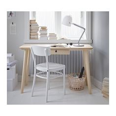LISABO Desk, ash veneer 46 1/2x17 3/4
