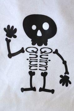 Rattle Me Bones – personalized Halloween onesie using heat transfer vinyl